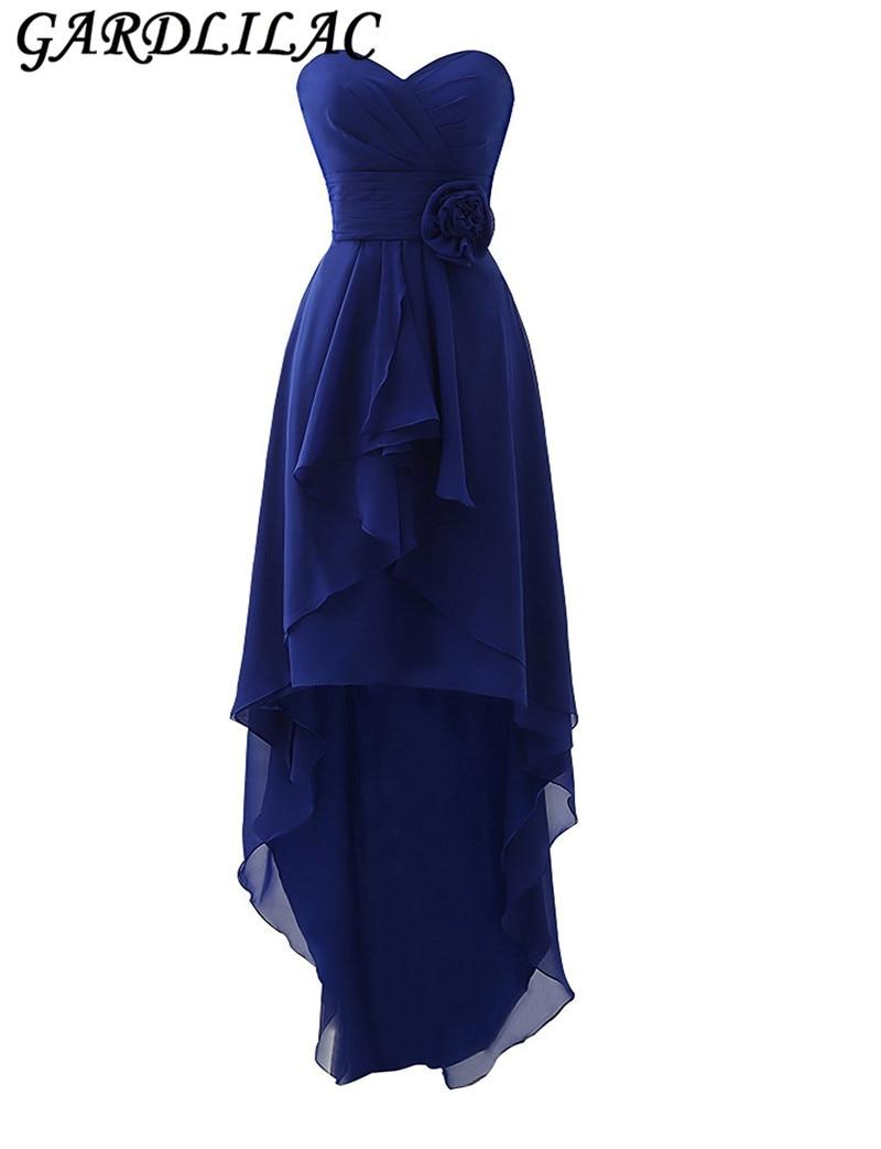 Gardlilac Strapless hi-Low koszorúslány ruha rövid 2017 chiffon kedves rövid esküvői party ruha hivatalos party ruhák