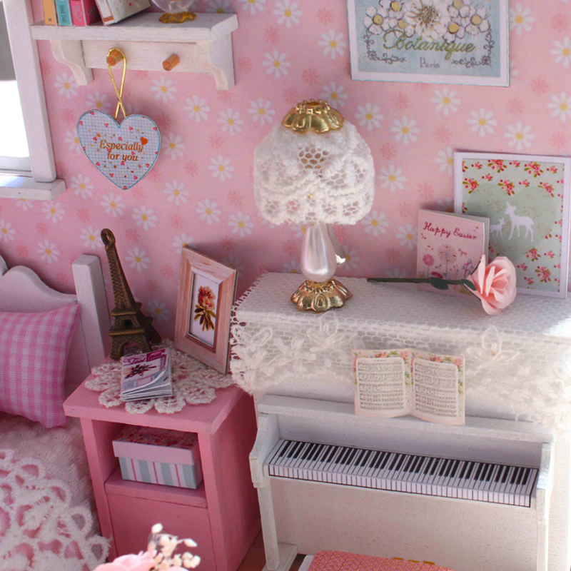 Diy Model Miniature Dollhouse With Furnitures Led 3d Wooden House Toys Handmade Crafts Birthday Gifts For Children H015 E