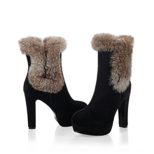 K22 2014 new winter botines women fashion booties casade shoes platform round toe rabbit fur sexy supper high heels ankle boots