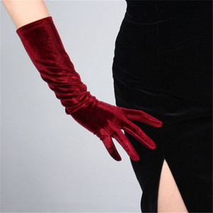 Image 3 - 40cm Velour Gloves Long Section Wine Red Dark Red Female High Elastic Swan Velvet Gold Velour Touchscreen Woman WSR04