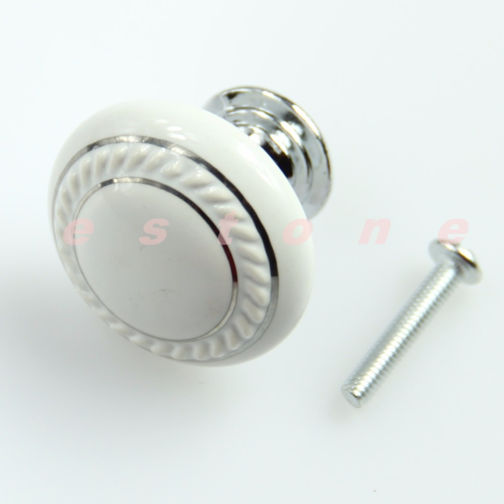 F85  Free Shipping Ceramic Crystal Glass White Door Knob Drawer Cabinet Kitchen Wardrobe Handle bqlzr 2pcs creamy white ceramic glass door knob drawer cabinet kitchen wardrobe handle