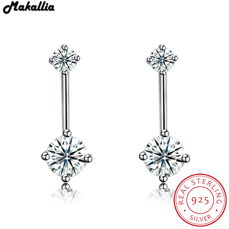 2017 New Arrival 925 Sterling Silver Dazzling Double round Clear CZ Stud Earrings for Women Wedding