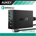 AUKEY 5 Port USB Charger Qualcomm Quick Charge QC 3.0 with Micro-USB Cable for Samsung Galaxy S7/S6/Edge, LG G5 for iPhone iPad