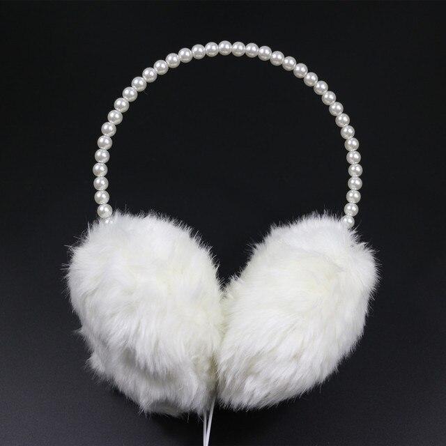 Nova Moda Pérola Headband Fones De Ouvido Bonito Da Menina Das Mulheres Presente Quente Fluffy Plush Earmuff Feminino Headset Ear Warmer Proteção do Inverno