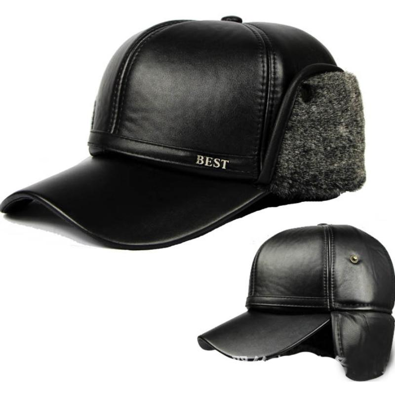 Baseball-Caps Bomber-Hats Aviator-Trooper Faux-Fur Earflap Winter HT648 Warm-Leather