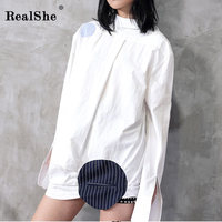 RealShe 2018 Women White Long Sleeve Shirt Dress Spring Cotton Dresses Fashion Loose Elegant Woman Shirt