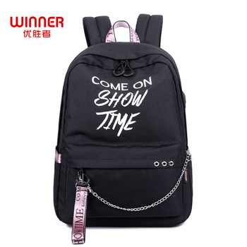 WINNER Fashion Letter Luminous Printing Backpack Casual Simple Backpack School Bags For Teenagers Girls Boys Mochila 2018