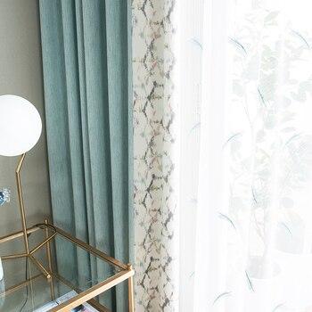 Custom curtain Nordic jacquard Stitching cotton linen Plaid livingroom bedroom window cloth blackout curtain tulle yarn M478