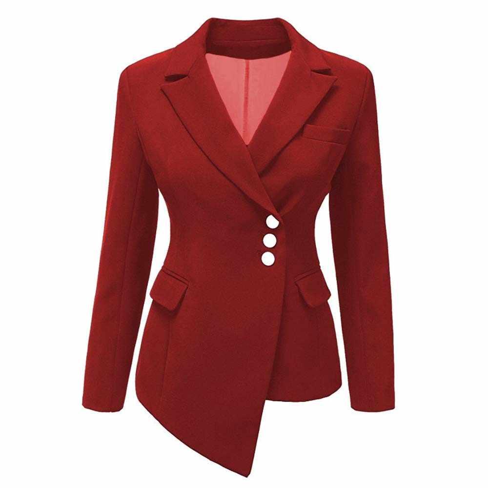 New Women Fashion OL Blazer Coat Long Sleeve Turn Down Collar Lapel Button Pocket Ladies Wear to Work Business Jacket Coat YF768