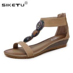 SIKETU/сандалии-гладиаторы на платформе, Женская пляжная летняя обувь, женские сандалии в богемном стиле с бусинами, большие размеры 35-42