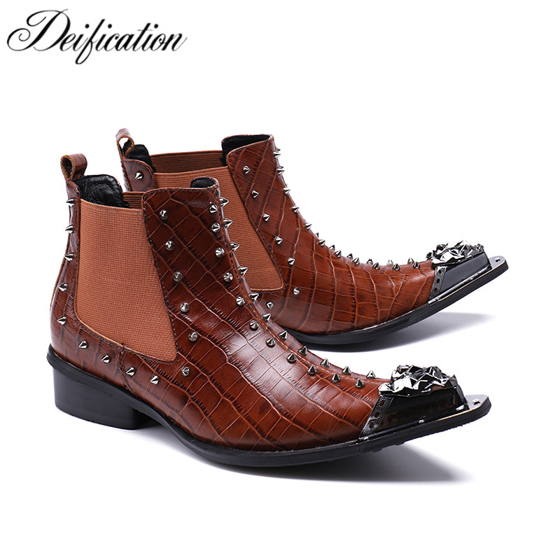 Deification Hot Fashion Tan Pointed Toe Western Motorcycle Boots Rivet Studded Men's Dress Shoes Military Boots Botas Large Size