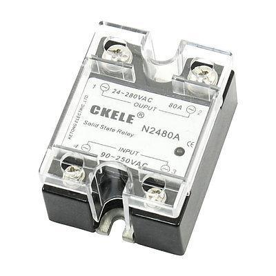 AC 24-280V to 90-250V 80A 1 Phase Metal Polished Base Solid State Relay