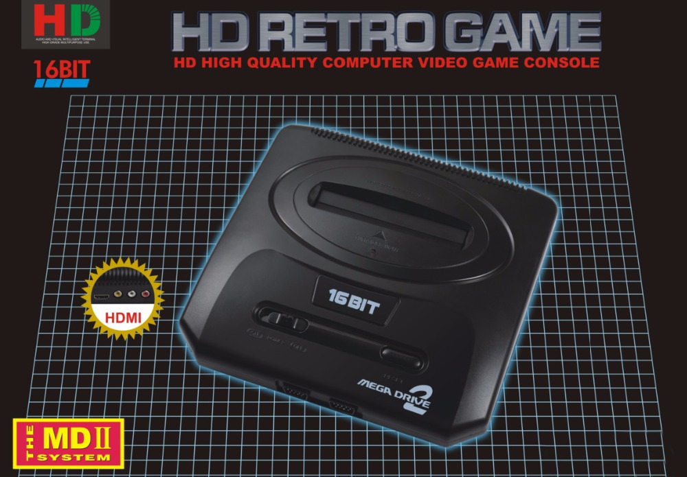 Top 720DPI HDMI TV Video Game Console Sega MEGADRIVE2 MD2 Retro Game with HDMI Output 2.4G Wireless controller with 18in1 games sega