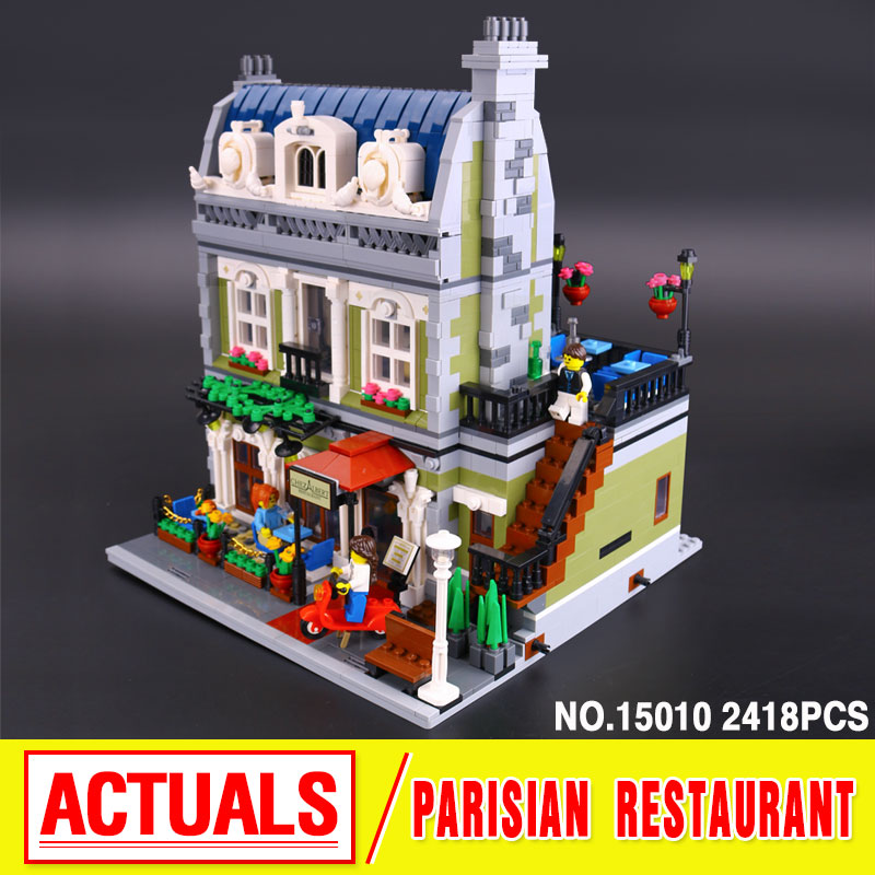 ФОТО LEPIN 15010 City Street  Parisian Restaurant Model Building Kit  Assembling Blocks Bricks Toy 10243