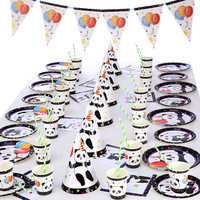 74Pcs/set Cartoon Panda Disposable Tableware Party Paper Plates Birthday Wedding Party Supplies Baby Shower Tableware