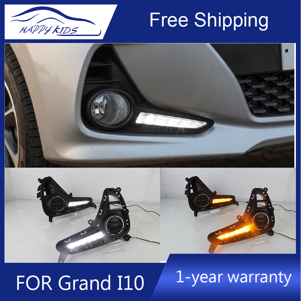 US $72 8 9% OFF|Car styling Drl For Hyundai Grand i10 2017 2018 with turn  signal style relay waterproof 12V LED CAR DRL Daytime running lights-in Car