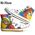 Despicable Me Colorful Minions Graffiti Canvas Shoes Laces College Student Hand Painted Casual Shoes Breathable Flat Shoe