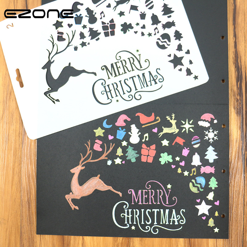 EZONE 1PC Hollow Painting Ruler Elk Gift Christmas Tree Pattern Template Stamp Children DIY Drawing Tool Student Stationery