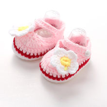 Hot Newborn Child Small Daisy Pattern Knit Baby Shoes Girl Boy Children Knit Bed Shoes Soft Baby Bootees Zapatillas Nina #L5(China)