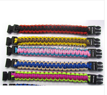 цена на free DHL 100pcs Mix Colors Parachute Cord Emergency Paracord Survival Bracelet with Plastic Buckle Camping jewelry for Climbing