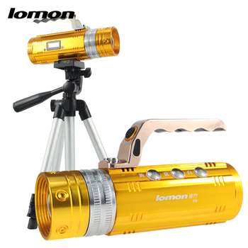 Rechargeable Display LED Fishing Flashlight Professional 3 Color Light Source White Blue Yellow Zoom LED Switch induction Tripod