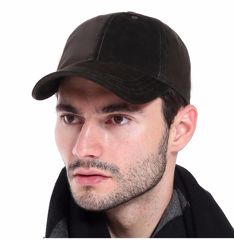 Model Wearing the Army Green Soft Corduroy Baseball Cap