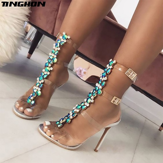 TINGHON New Women s Sandals Buckle Strap Luxurious Blue Crystal Chain  Transparent PVC high heel Sexy Summer Sandals 6540a3cede11