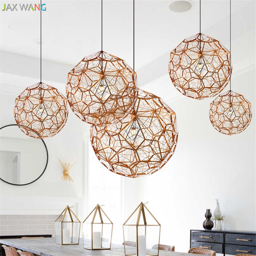 Modern Etch Web Pendant Lights Art Diamond Ball Stainless Steel Dining Room Bedroom Desktop Hanging Lamps Fixture