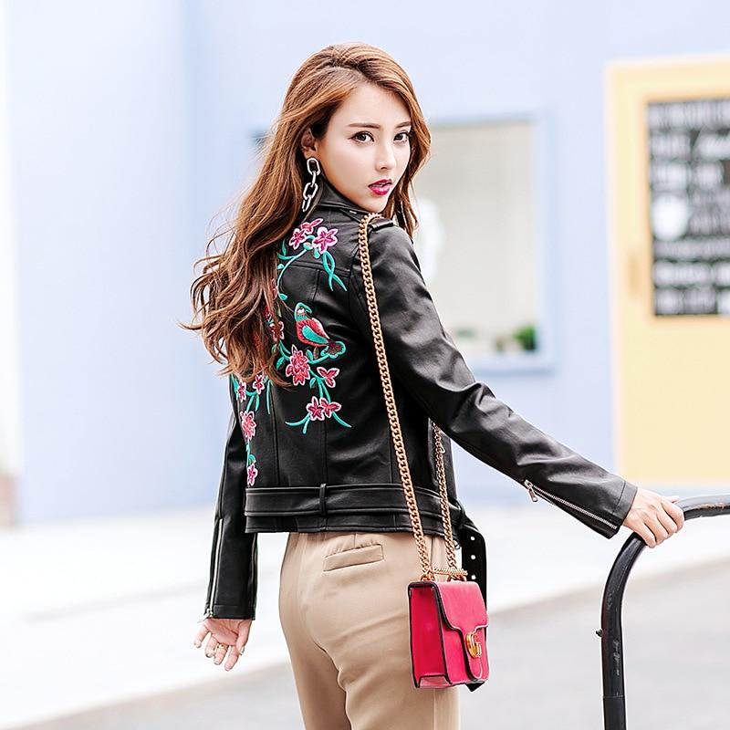 2018 Spring Black   Leather   Jacket Lady Short PU Embroidery Jackets Women Winter Embroidery Coat With Belt Epaulet LF17019