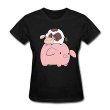 Новый большой свинья Tiny коровы Забавные футболки Для женщин Изделие из хлопка с короткими рукавами евро Размеры женская футболка Camisetas Повседневная Женская обувь футболки