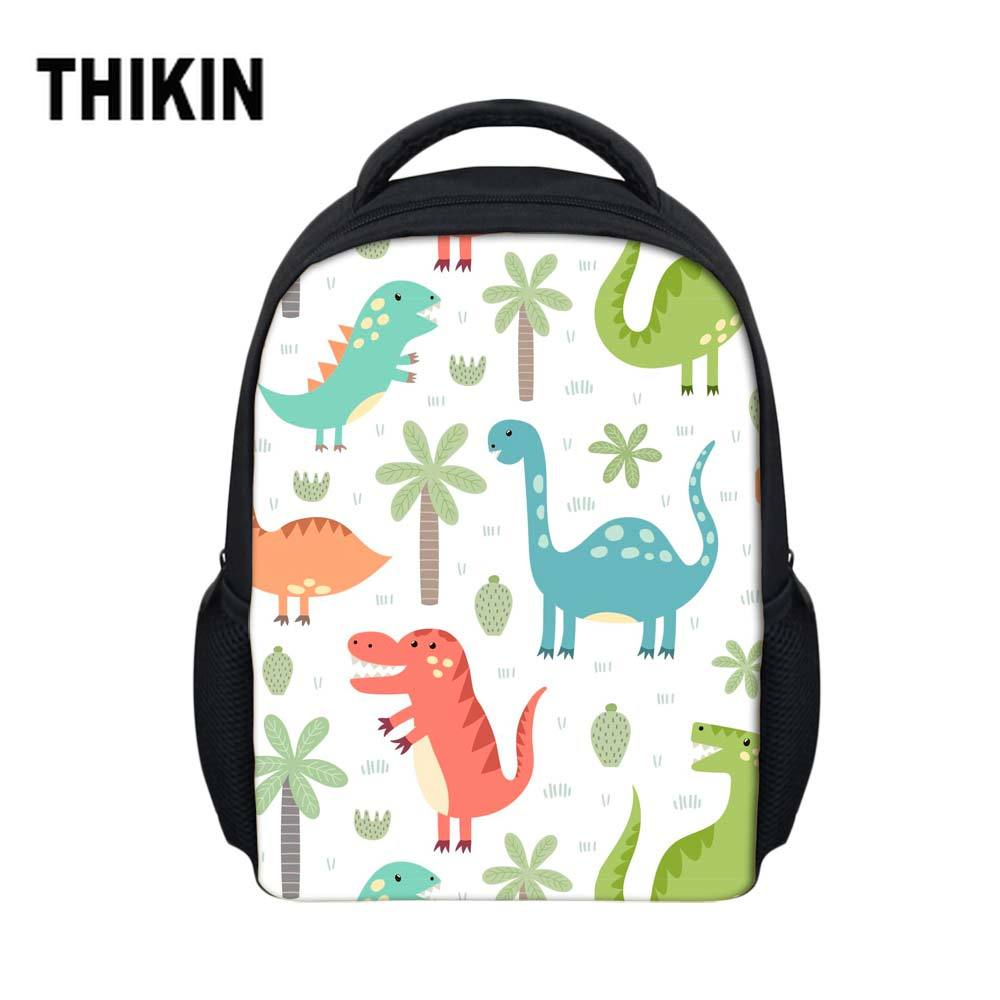 THIKIN  Jurassic Century Dinosaur & Dragon Backpacks Cute Cartoon Animal Printing Schoolbags Kindergarten Baby School Backpack(China)