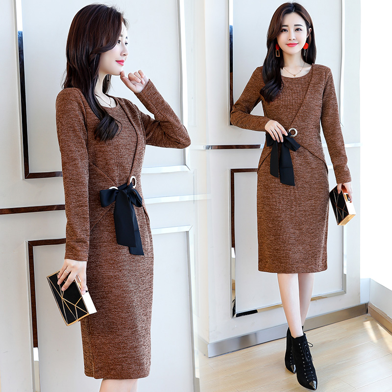 Printemps et automne robe femmes à manches longues nouvelle mode coréenne O cou vestido dame tenue robes de base vêtements grande taille M-4XL
