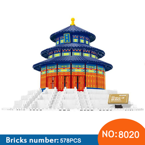 Wange 8020 1052pcs The TEMPLE OF HEAVEN OF BEIJING World's Great Architecture Building Blocks Bricks Toys For Cheldren(China)