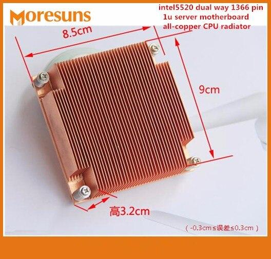 Free Ship 2pcs/lo For intel5520 dual way 1366 pin 1u server motherboard all-copper CPU radiator X58 platform Copper Heatsink