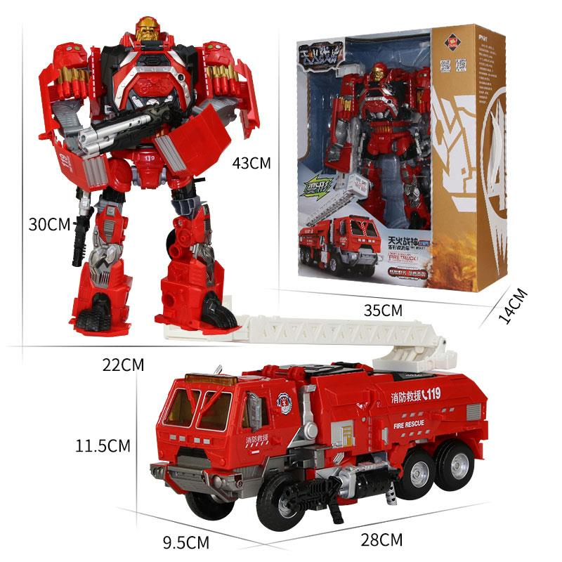 Red Transformer Robot Car Rescue Fire Engine Truck Model Toy Gifts Kids Set