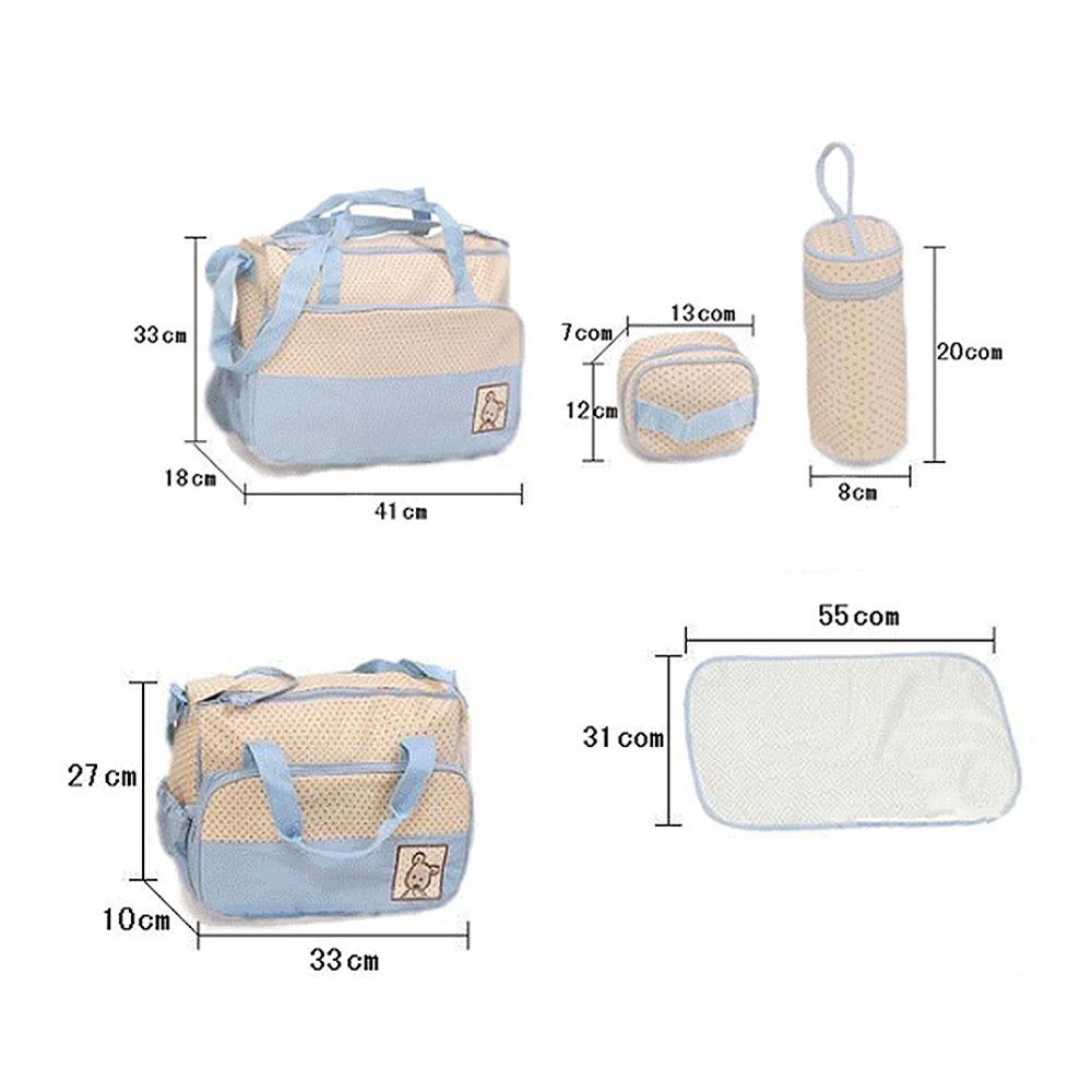 5pcs Multifunction Baby Diaper Bag Suits For Mom Baby Bottle Holder Mother Mummy Stroller Maternity Nappy Bags Sets