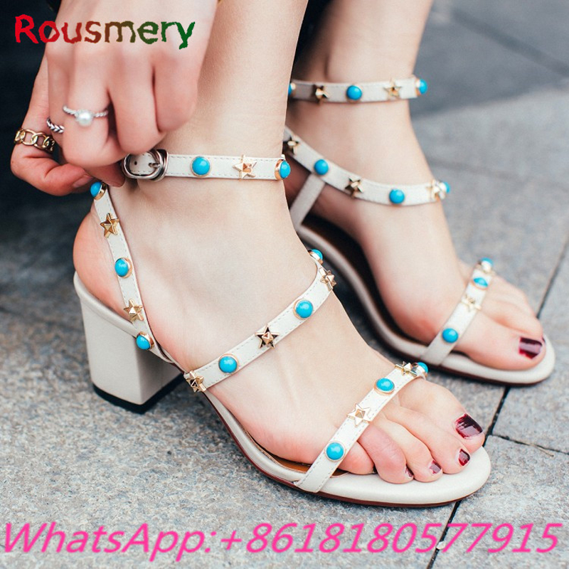 2017 New Arrival Chunky High Heels Woman Sandals Sweet Rivet Star Decoration Zapatos Mujer Tacon Fashion Party Tenis Feminino