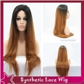 "synthetic lace front wig ombre straight wig beyonce 1b#/30# lace front wigs for black women free/side/middle parting 26""150%"