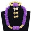Latest Purple Beads Chunky African Jewelry Sets Handmade Nigerian Beaded Bridal Jewelry Set Gold Jewelry Accessory