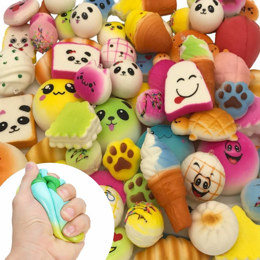 30pcs Random Slow Rising Squashy Toy Antistress Simulation Bread Cream Bun Pendant Donut Charm Antistress Stretchy Squish Toys