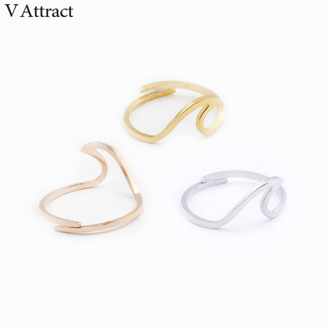 V Attract Stainless Steel Jewelry Accessries Rose Gold Anel Fashion Wedding Gift 2