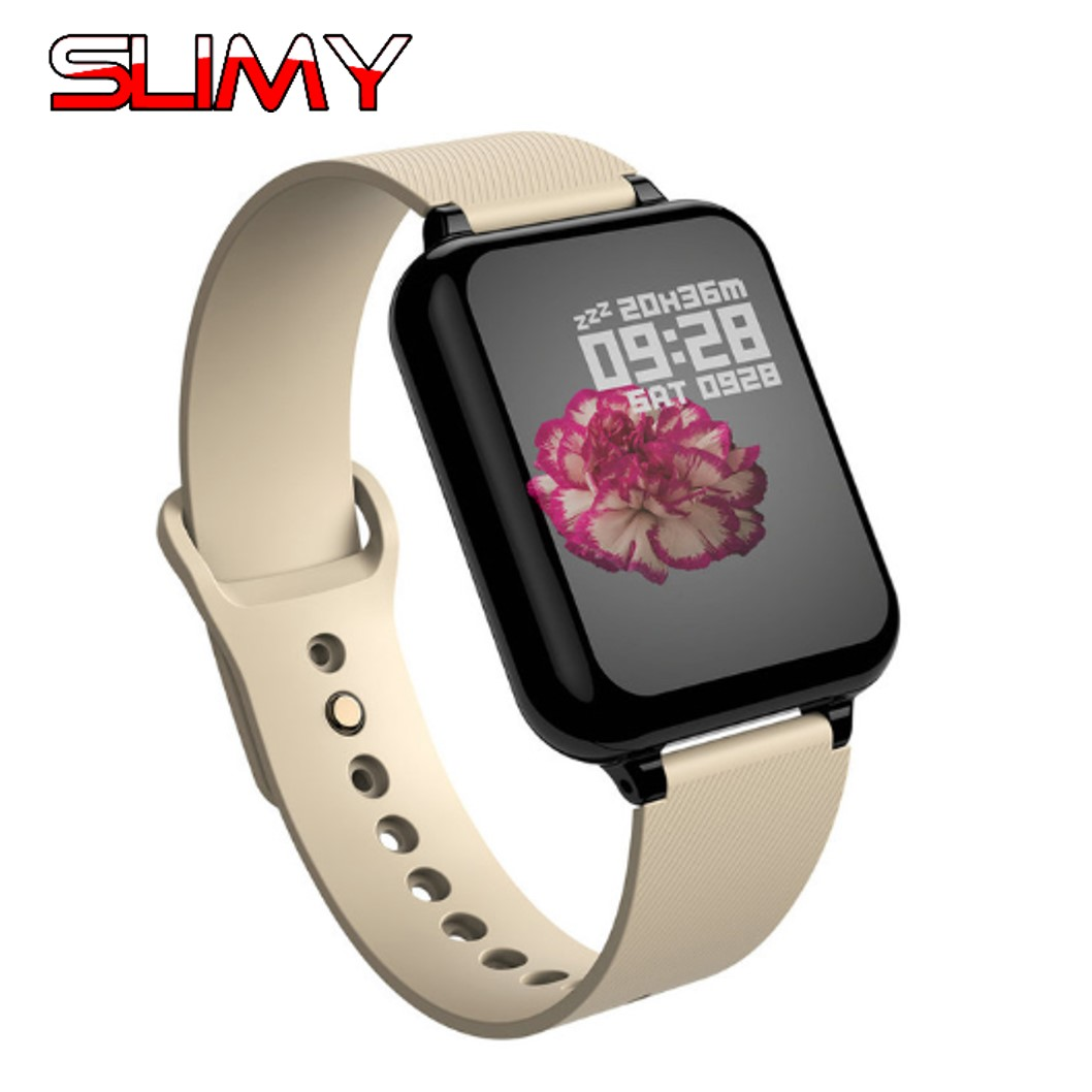 Slimy B57 Smart Watch Bluetooth Heart Rate Blood Pressure Oxygen Monitor Alarm Clock Men Women Smart Watch for Apple Watch