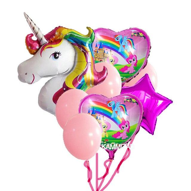8pcs set anagram rainbow unicorn helium foil balloons. Black Bedroom Furniture Sets. Home Design Ideas