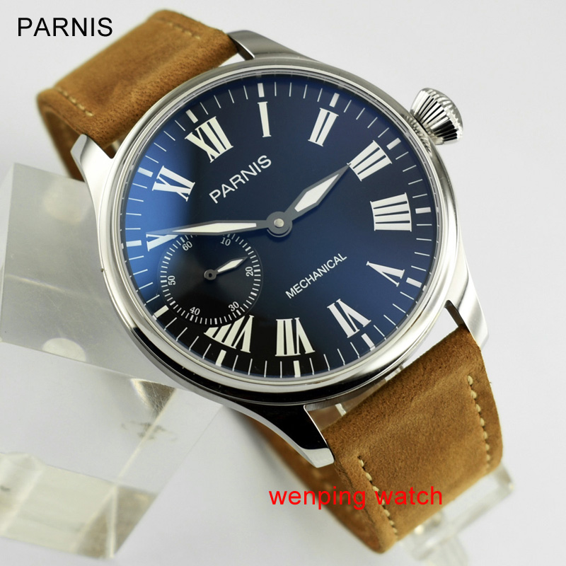 44mm Parnis black dial GREEN luminous marks 6497 hand winding Mechanical Men's watch E2402