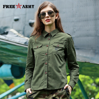 2017 Autumn Women's Shirt Long Sleeve Twill Cotton Tops And Blouses For Women Military Green Women's Clothing Plus Size Gs 8791A