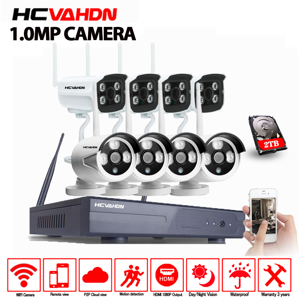 HCVAHDN 8CH 1080P Wireless CCTV NVR Kit 8PCS 720P IR Outdoor P2P Wifi IP CCTV Camera Security System Surveillance Kit with HDD