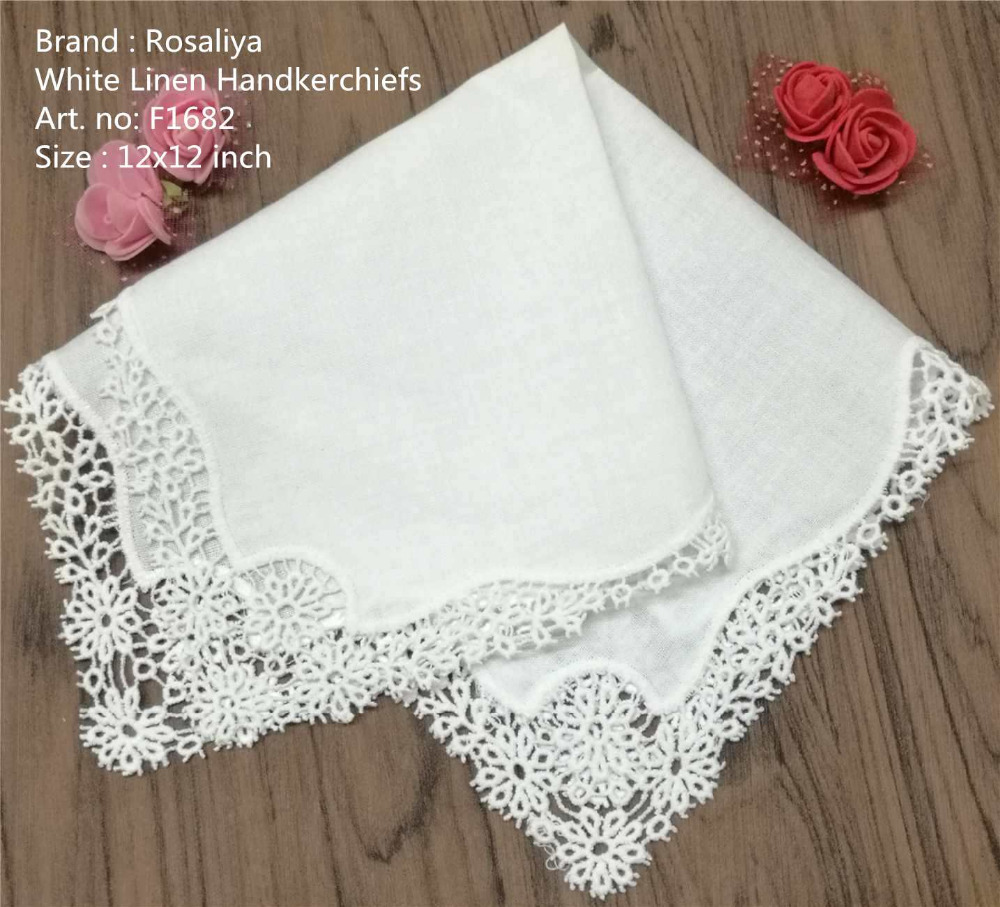 Set Of 12 Fashion White Linen Table Napkin Tea Napkins Flowers Crochet Lace Trims Dinner Napkins 12x12-inch