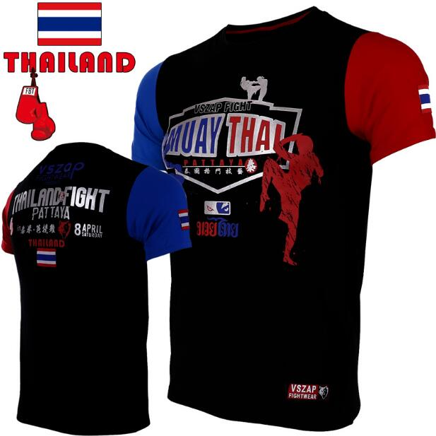 VSZAP Fight MUAY THAI MUAY THAI Combat Short Sleeve T-shirt Broadcasting Wulinfeng  Fitness Training Clothes