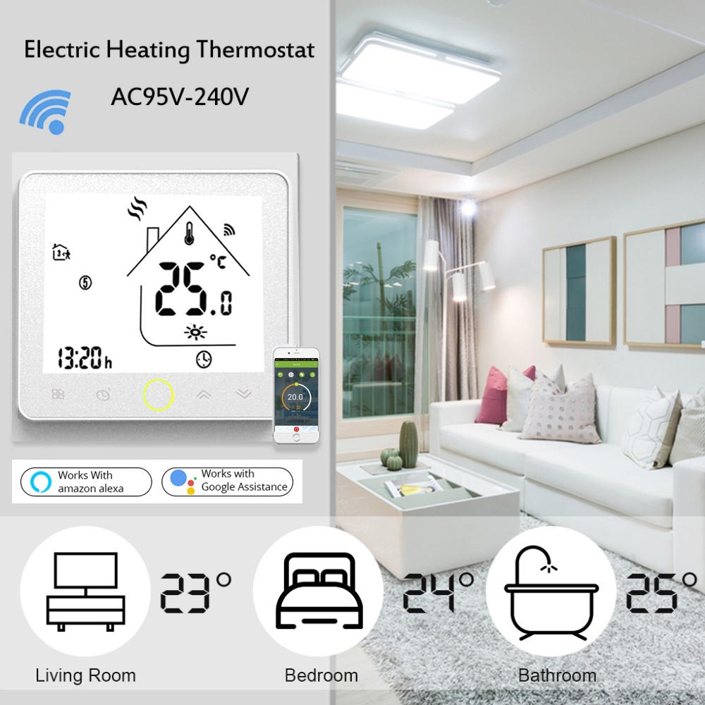 Wifi Thermostat Voice Control Electric Floor Heating Thermostat LCD Display Smart Temperature Controller Works with Alexa 16A electric floor heating room touch screen thermostat warm floor heating system thermoregulator temperature controller 220v 16a