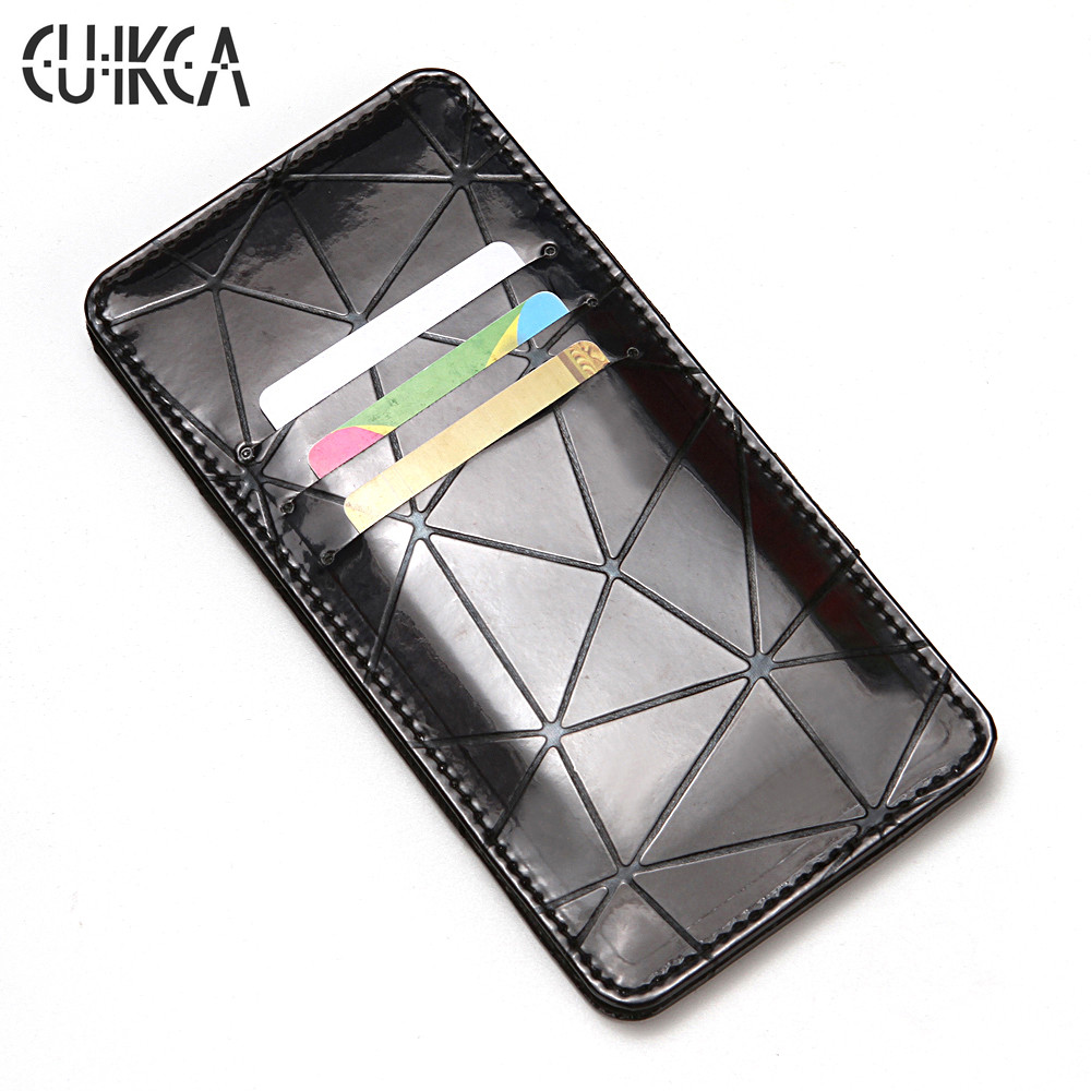 CUIKCA Unisex Magic Wallet Magic Money Clip Long Wallet Purse Diamond-shaped Indentation PU Leather Wallet ID Credit Card Cases